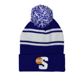 Royal/White Two Tone Knit Pom Beanie w/Cuff-Big S