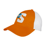 Orange/White Mesh Back Unstructured Low Profile Hat-Big S