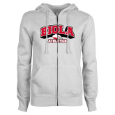 ENZA Ladies White Fleece Full Zip Hoodie-Official Athletics Logo
