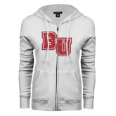ENZA Ladies White Fleece Full Zip Hoodie-Mascot Glitter Red