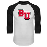 White/Black Raglan Baseball T-Shirt-BU