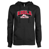 ENZA Ladies Black Fleece Full Zip Hoodie-Official Athletics Logo