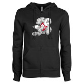ENZA Ladies Black Fleece Full Zip Hoodie-Mascot
