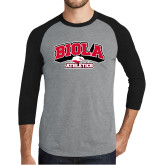 Grey/Black Tri Blend Baseball Raglan-Official Athletics Logo