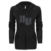 ENZA Ladies Black Light Weight Fleece Full Zip Hoodie-Mascot Glitter Graphite Soft