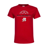 Youth Red T Shirt-Soccer Geometric Top