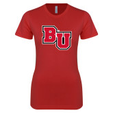 Next Level Ladies SoftStyle Junior Fitted Red Tee-BU