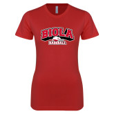 Next Level Ladies SoftStyle Junior Fitted Red Tee-Baseball