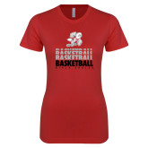 Next Level Ladies SoftStyle Junior Fitted Red Tee-Basketball Repeated