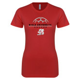 Next Level Ladies SoftStyle Junior Fitted Red Tee-Soccer Geometric Top