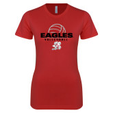 Next Level Ladies SoftStyle Junior Fitted Red Tee-Volleyball Top