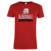 Ladies Red T Shirt-Basketball Repeated