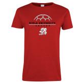 Ladies Red T Shirt-Soccer Geometric Top