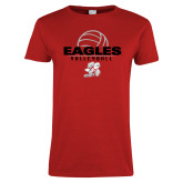Ladies Red T Shirt-Volleyball Top