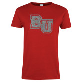 Ladies Red T Shirt-Mascot Glitter Silver Soft