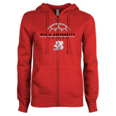 ENZA Ladies Red Fleece Full Zip Hoodie-Soccer Geometric Top