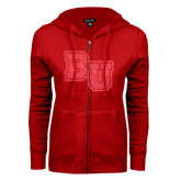 ENZA Ladies Red Fleece Full Zip Hoodie-Mascot Glitter Red