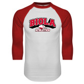 White/Red Raglan Baseball T-Shirt-Official Athletics Logo