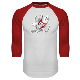 White/Red Raglan Baseball T-Shirt-Mascot