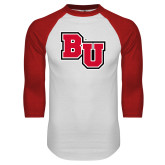 White/Red Raglan Baseball T-Shirt-BU
