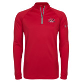 Under Armour Red Tech 1/4 Zip Performance Shirt-Official Athletics Logo