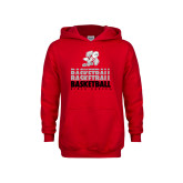 Youth Red Fleece Hoodie-Basketball Repeated