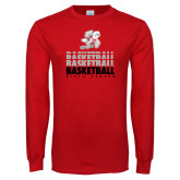 Red Long Sleeve T Shirt-Basketball Repeated
