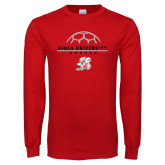 Red Long Sleeve T Shirt-Soccer Geometric Top