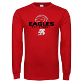 Red Long Sleeve T Shirt-Volleyball Top