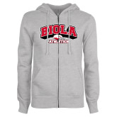 ENZA Ladies Grey Fleece Full Zip Hoodie-Official Athletics Logo