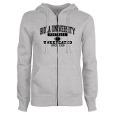 ENZA Ladies Grey Fleece Full Zip Hoodie-Biola Football Undefeated Since 1908