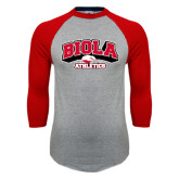 Grey/Red Raglan Baseball T Shirt-Official Athletics Logo