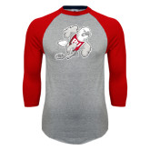 Grey/Red Raglan Baseball T Shirt-Mascot
