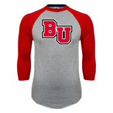 Grey/Red Raglan Baseball T Shirt-BU