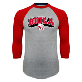 Grey/Red Raglan Baseball T Shirt-Dad