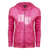 ENZA Ladies Fuchsia Fleece Full Zip Hoodie-Mascot Glitter White Soft