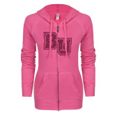 ENZA Ladies Hot Pink Light Weight Fleece Full Zip Hoodie-Mascot Glitter Hot Pink