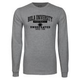 Grey Long Sleeve T Shirt-Biola Football Undefeated Since 1908