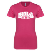 Ladies SoftStyle Junior Fitted Fuchsia Tee-Official Logo