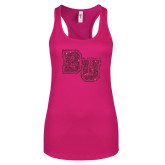 Next Level Ladies Raspberry Ideal Racerback Tank-Mascot Glitter Hot Pink