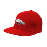 Red OttoFlex Flat Bill Pro Style Hat-Eagle Head