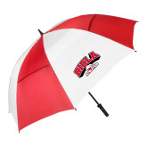 62 Inch Red/White Vented Umbrella-Official Athletics Logo