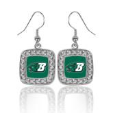 Crystal Studded Square Pendant Silver Dangle Earrings-Bearcat Head w/ B