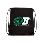 Black Drawstring Backpack-Bearcat Head w/ B