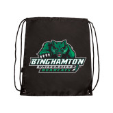 Nylon Black Drawstring Backpack-Binghamton University Bearcats Official Logo