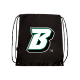 Nylon Black Drawstring Backpack-B
