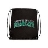 Nylon Black Drawstring Backpack-Arched Binghamton University Bearcats
