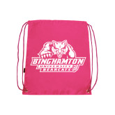 Nylon Pink Drawstring Backpack-Binghamton University Bearcats Official Logo