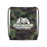 Nylon Camo Drawstring Backpack-Binghamton University Bearcats Official Logo
