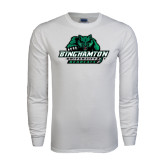 White Long Sleeve T Shirt-Binghamton University Bearcats Official Logo